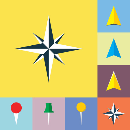 navigational: Set of navigational flat icons. Wind rose, navigation pointer, arrow symbol, location marker, pin icons. Illustration