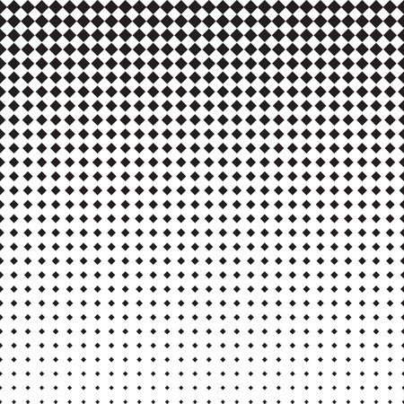 horizontally: Rhomb halftone pattern with gradient effect. Rhombuses in black and white. Template for backgrounds and stylized textures. Horizontally seamless. Illustration