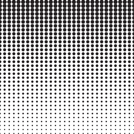horizontally: Hexagon halftone pattern with gradient effect. Hexagons in black and white. Template for backgrounds and stylized textures. Horizontally seamless. Illustration