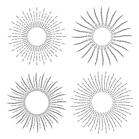 Set of retro stylized symbols of sun. Sunburst isolated on white background. Linear drawings of sunshine rays in vintage style. Collection of sunlight signs. Illustration