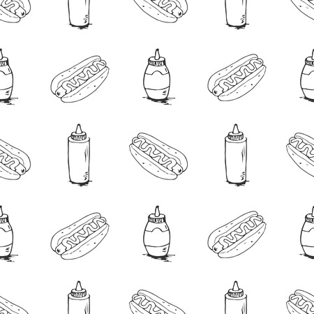 plastic bottles: Hotdog seamless texture. Fast food pattern. Continuous background from  sketches. Hot dogs and plastic bottles with mustard and mayonnaise.