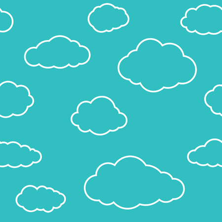 greenish blue: Clouds seamless pattern. Vivid greenish blue continuous background with white thin line sky cloudlets.