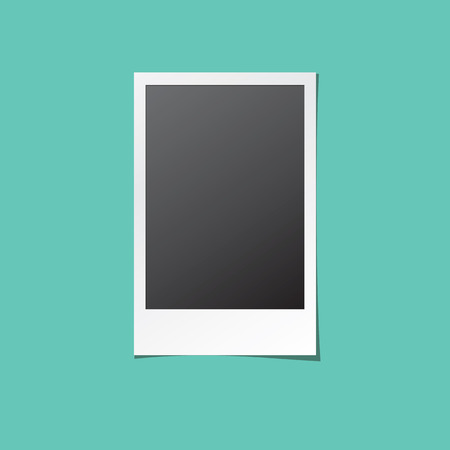 old photograph: Instant photo frame. Old retro photo isolated mock up. Realistic paper photograph with blank space for your image.