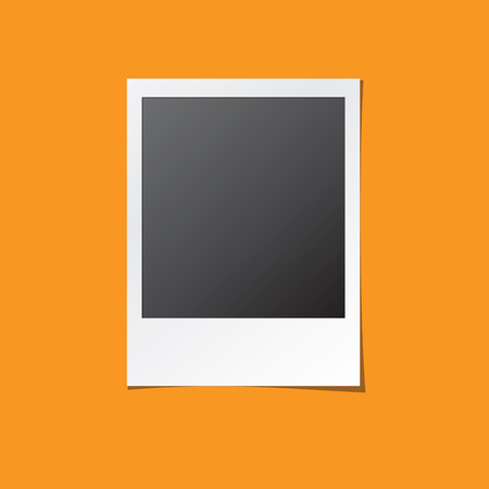 Instant photo frame. Old retro photo isolated mock up. Realistic paper photograph with blank space for your image.