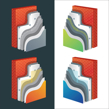 Thermal insulation cross-section layered schemes set. Wall thermal protection principle construction. Exterior isolation layers. Polystyrene insulated brick wall.