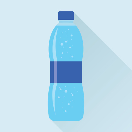 aerated: Plastic bottle of fresh sparkling water icon in flat style isolated on sky blue background.