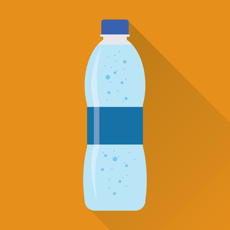 aerated: Plastic bottle of fresh sparkling water icon in flat style isolated on orange background.
