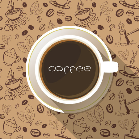 it is full: Coffee cup on a saucer flat icon top view with lettering above it. White mug full of coffee on seamless hand drawn background.