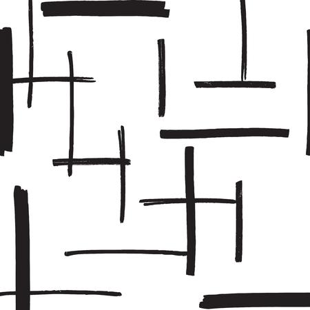 Marker streicht nahtlose Muster in schwarzen und weißen Farben. Filzstift Streifen Hand Drawn wiederholende Textur. Abstrakt Hintergrund für den Druck, Textil, Stoff.
