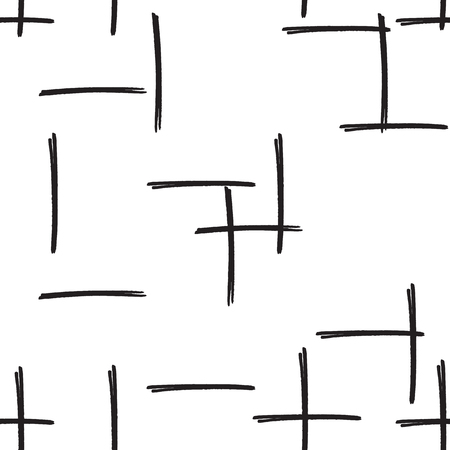 doodled: Felt pen strokes seamless background in black and white colors. Marker streaks hand drawn repeating pattern. Abstract texture for print, textile, fabric.