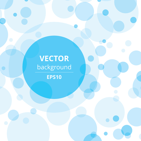 room for your text: Transparent crossing circles abstract background. Sky blue bubbles randomly placed on white backdrop and one big circle with room for your text or symbols. Easy editable vector eps10 illustration.
