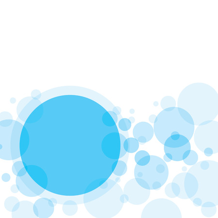 Transparent crossing circles abstract background. Sky blue bubbles randomly placed on white backdrop and blank big circle with space for your text or symbols. Easy editable vector eps10 illustration.