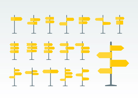 navigational: Set of 18 road signs and pointers flat icons. Signpost on pillar in yellow color. Blank template with empty space for navigational or guide text. Clean vector illustration. Illustration