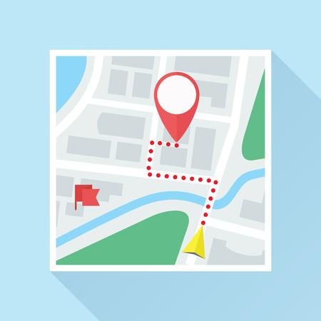 mappa della città con segno di posizione, bandierina, il puntatore di navigazione e via. L'icona colorata piatta. Vector eps8.