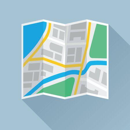 Icona piana colorata mappa della città pieghevole. Illustrazione vettoriale eps8