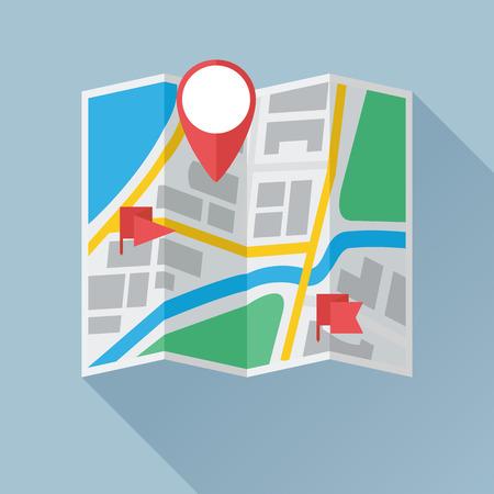 Mappa della città di carta pieghevole con contrassegno di posizione e etichette di bandiera. Icona piatta colorata. Illustrazione vettoriale eps8 Vettoriali