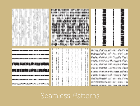 matting: Set of dotted and dashed seamless patterns. Stylized burlap and matting abstract repeating textures in black and white colors. Vector eps8 illustration.