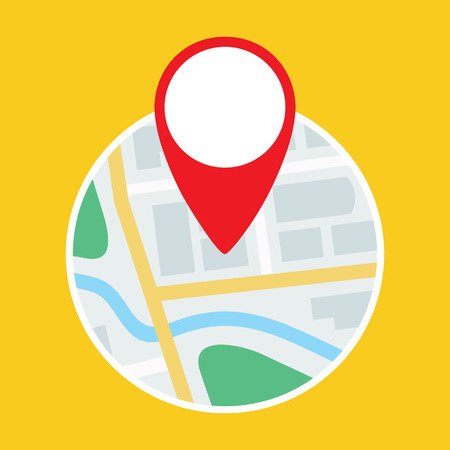 Map with GPS Symbol Flat Icon