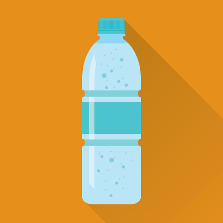 aerated: Plastic Bottle of Fresh Water Flat Icon