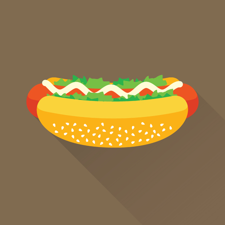 mayonnaise: Delicious hotdog with mayonnaise and vegetables. Isolated flat icon. Fast food symbol for poster, menus, brochure and web. Vector eps8 illustration. Illustration
