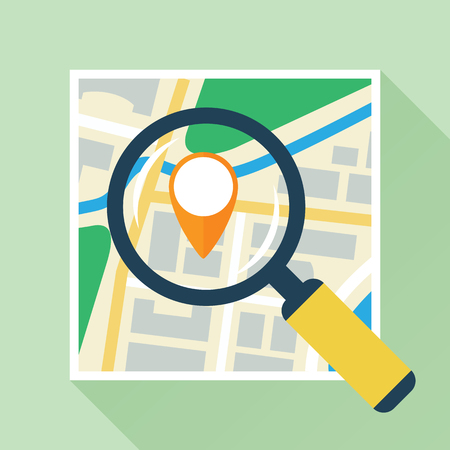 Magnifier Over Navigational Map Flat Icon