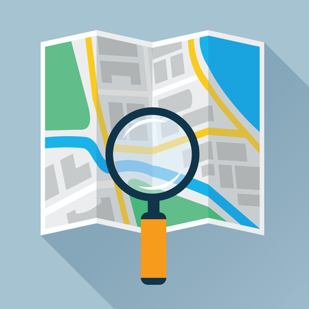 Magnifying Glass Over Folding Map Flat Icon