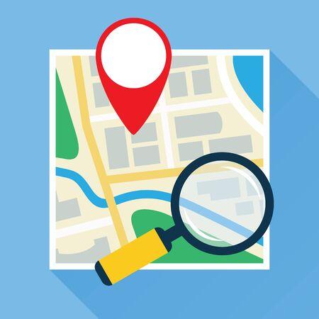 navigational: Magnifier Over Navigational Map Flat Icon