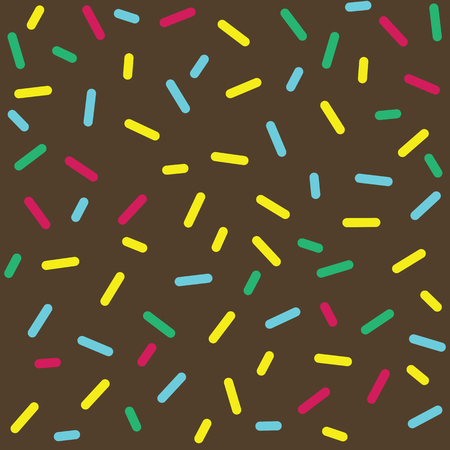sprinkle: Donut glaze seamless pattern. Cream texture with sprinkle topping of colorful sprinkles on chocolate background. Food bakery decoration. Vector eps8 illustration.