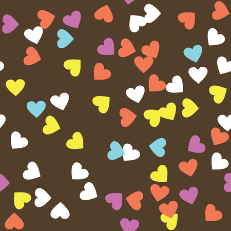 sprinkle: Donut glaze seamless pattern. Cream texture with sprinkle topping of colorful hearts on chocolate background. Food bakery decoration. Vector eps8 illustration. Illustration