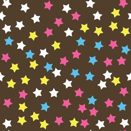 Donut glaçure seamless pattern. texture crème Saupoudrer la garniture des étoiles colorées sur fond de chocolat. boulangerie décoration alimentaire. Vector eps8 illustration.
