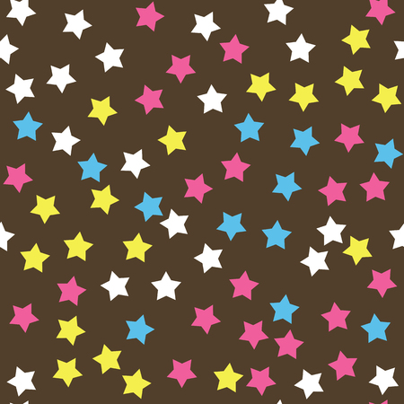 sprinkle: Donut glaze seamless pattern. Cream texture with sprinkle topping of colorful stars on chocolate background. Food bakery decoration. Vector eps8 illustration.