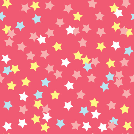 sprinkle: Donut glaze seamless pattern. Cream texture with sprinkle topping of colorful stars on pink background. Food bakery decoration. Vector eps8 illustration.