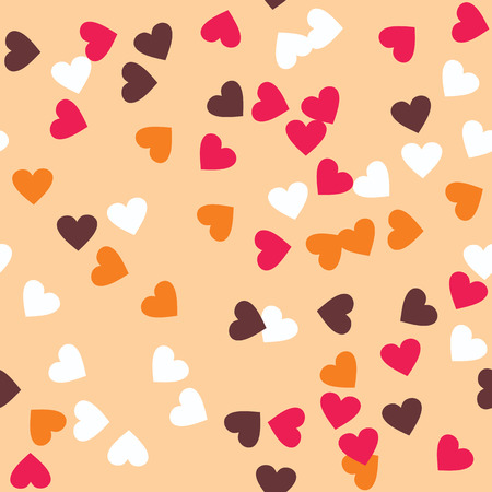 topping: Donut glaze seamless pattern. Cream texture with sprinkle topping of colorful hearts on creamy background. Food bakery decoration. Vector eps8 illustration.