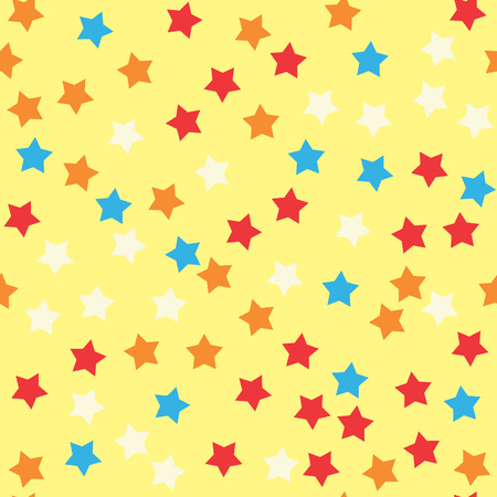 sprinkle: Donut glaze seamless pattern. Cream texture with sprinkle topping of colorful stars on yellow background. Food bakery decoration. Vector eps8 illustration.