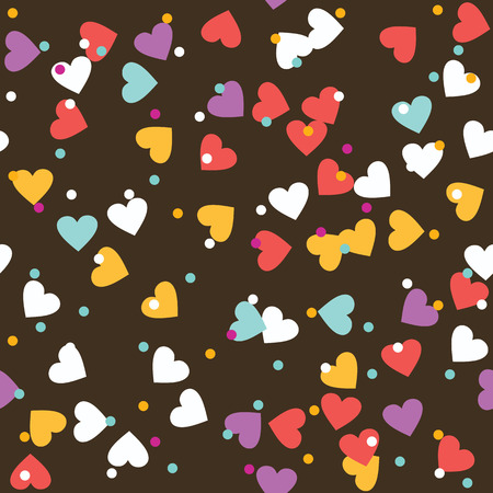 topping: Donut glaze seamless pattern. Cream texture with sprinkle topping of colorful hearts and beads on chocolate background. Food bakery decoration. Illustration