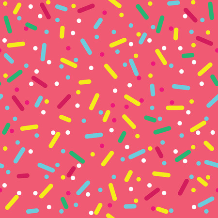Donut glaze seamless pattern. Cream texture with topping of colorful sprinkles and beads on pink background. Food bakery decoration.