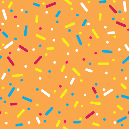 topping: Donut glaze seamless pattern. Cream texture with topping of colorful sprinkles and beads on orange background. Food bakery decoration.