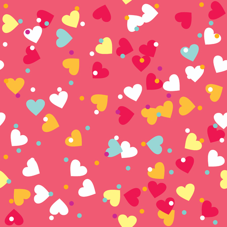 sprinkle: Donut glaze seamless pattern. Cream texture with sprinkle topping of colorful hearts and beads on pink background. Food bakery decoration.