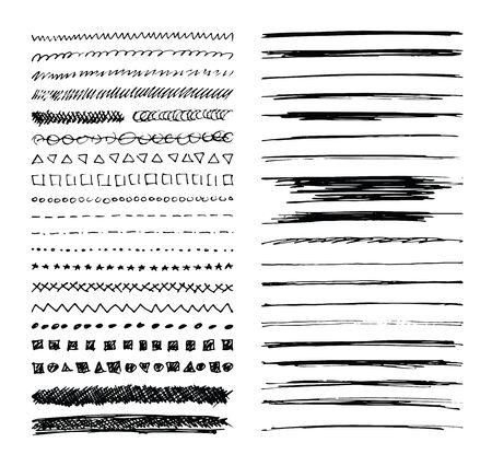 Conjunto de bordes de línea dibujados a mano, accidentes cerebrovasculares garabato y elementos de diseño aislados en blanco. cepillos de estilo de bosquejo.