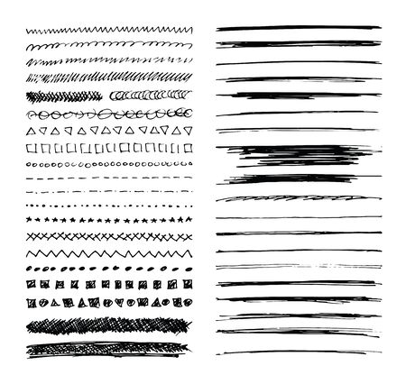 Set of hand drawn line borders, scribble strokes and design elements isolated on white. Doodle style brushes. Vettoriali
