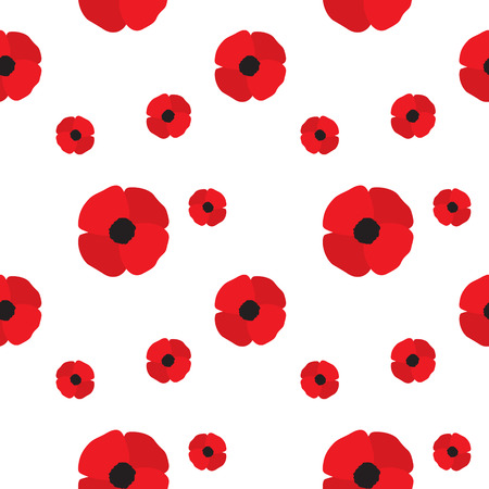 Poppy Flowers Seamless Pattern