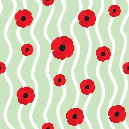 red poppy: Red Poppy Seamless Pattern