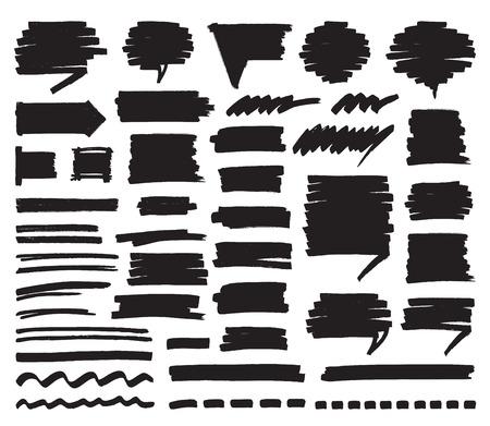 highlight: Marker Lines Strokes and Speech Bubbles Illustration