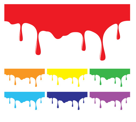 paint dripping: Paint dripping backgrounds in rainbow colors. Design elements of colorful liquid flow, flowing ink drips. Illustration