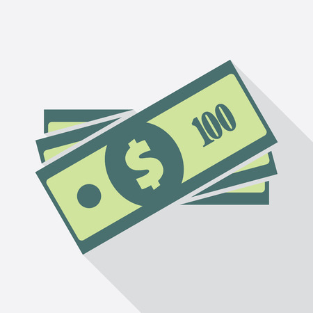 american currency: Dollar banknotes stack. Flat icon. American currency note symbol. One hundred USA dollars vector