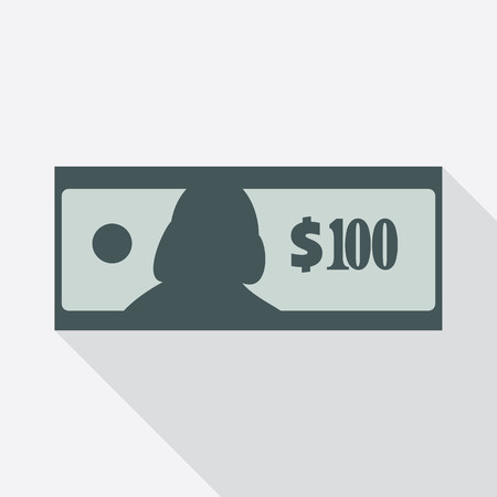 stylized banking: Dollar banknote flat icon. American currency note symbol. One hundred USA dollars vector Illustration