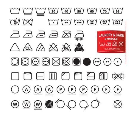 Icon set van wasvoorschrift in de moderne dunne lijn platte design stijl. Kleding wassen, bleken, drogen, strijken, schoonmaken