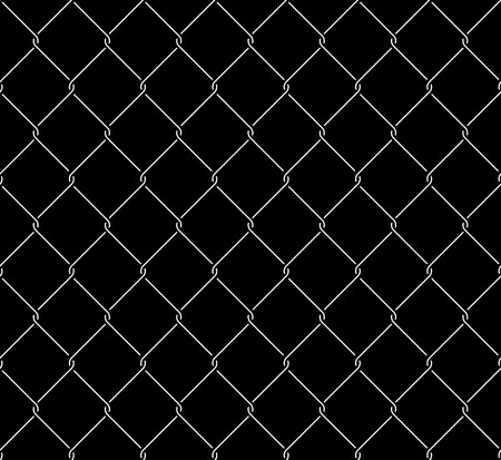detain: Wired metallic fence seamless pattern overlay. Steel wire mesh isolated on black background. Stylized vector texture. Illustration