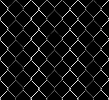 Wired metallic fence seamless pattern overlay. Steel wire mesh isolated on black background. Stylized vector texture. Illustration