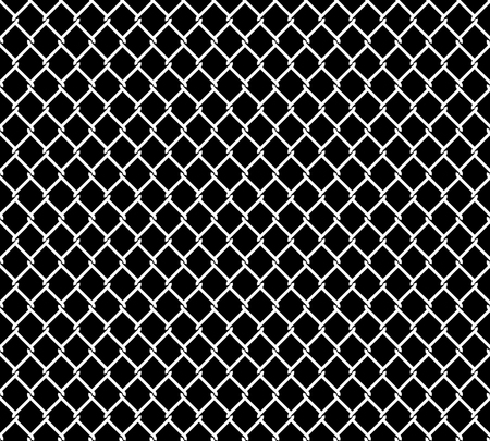 chained link fence: Wired metallic fence seamless pattern overlay. Steel wire mesh isolated on black background. Stylized vector texture. Illustration